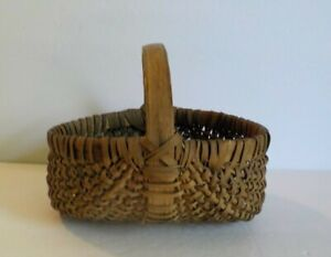 Antique American Oak Splint Buttocks Basket 6 5 High Old Interior Paint
