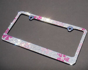 Shining Pink Flower Diamond Rhinestones License Plate Frame Screw Cap