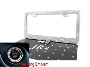 White Bling Diamond Rhinestone Metal License Plate Frame Free Bling Ring Emblem