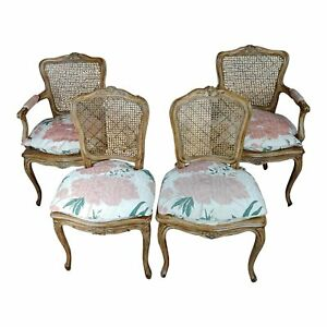 French Provincial Carved Cane Armchairs Chairs Set Of 4