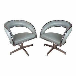Mid Century Chrome Leather Round Office Chairs A Pair