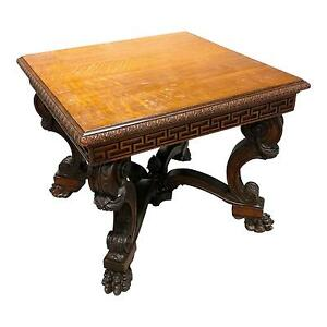 Highly Carved Antique Oak Center Table W Gorgeous Lion Feet
