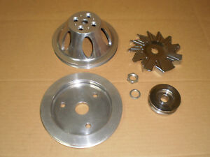 Used Chevy Big Block Billet Aluminum Pulley Set Chrome Alt Pulley 396 427 454