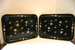 2 Vintage Metal Serving Tray Black Yellow With Flowers Retro Mid Century