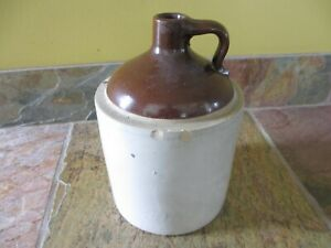 Antique 1 Gallon Western Stoneware Monmouth Illinois Jug Crock With Handle