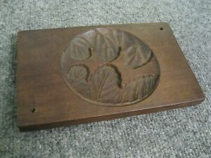 Antique Wood Carved Korean Rice Cake Mold Leaf Design