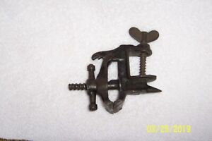 Antique Cast Iron Small Jeweler S Vise With Anvil Unmarked