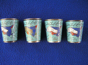 Four Russian Enamel Over Silver Metal Cups Shot Glasses 2