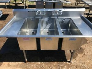 Stainless Steel 72 X 38 5 Heavy Duty 3 Compartment Wash Sink W Drainboards