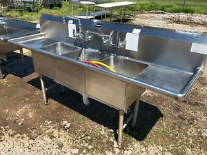 Load King Stainless Steel 90 5 X 23 5 Narrow 3 Compartment Wash Kitchen Sink Nsf