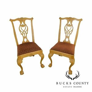 Lexington Solid Pine Chippendale Style Ball Claw Carved Pair Side Chairs