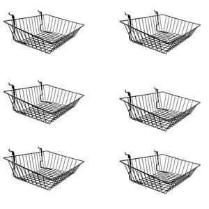 6pc 15 x 12 x 5 Shallow Front Sloping Basket Display Black Metal Wire