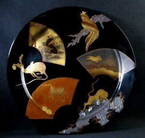 Japanese Old Lacquer Dish Medium Plate Tray Makie Gold Inlay Wood Animal Pattern