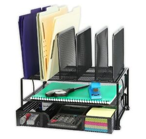 Steel Mesh Desktop Organizer Tray Sliding Drawer File Holder Space Saver Upright