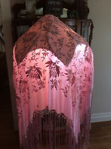 Antique Silk Piano Shawl Rose