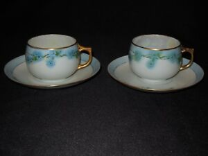 Jaeger And Co Bavaria Forget Me Not 2 Tea Cups And 2 Saucers With Gold Rim