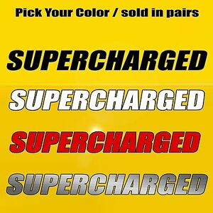 Supercharged Hood Side Fender Decal Fits Ford Mustang Gt Challenger Hellcat