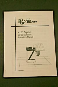 Fmc John Bean 4100 Digital Wheel Balancer Operating Manual