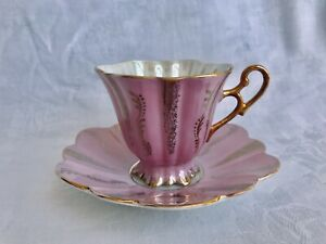 Vintage Japanese Shafford Bone China Tea Cup Saucer Iridescent Pink Gold Trim