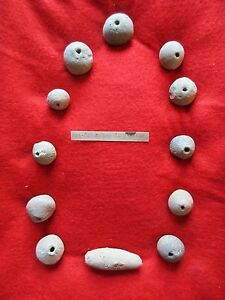 Vintage Pre Columbian Clay Bead Collection Museum Quality 12 Pieces Co 00639