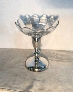 Nice Antique Sterling Silver Glass Weighted Pressner Candy Dish
