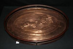 Lmas Hammered Copper Serving Tray W Wood Rails Impala Design