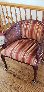 Louis Xv Style Padded Bergere Chair With Caned Sides