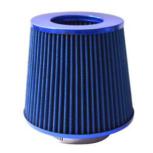 4 Inch Chrome Inlet Short Ram Cold Intake Round Cone Air Filter Blue