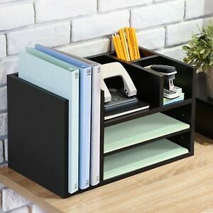 Wood Office Suppies Desk Organizer 5 Compartments phone Stand pen Pencil Holder