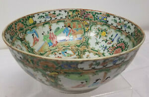 Antique Chinese Export Rose Medallion Large Punch Bowl Mandarin Scenes Hairline
