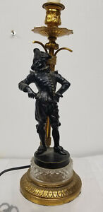 Antique French Bronze Gilt Bronze Lamp Jester Figure Statue Unsigned