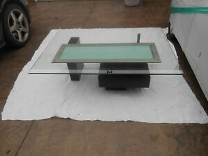 Awesome Vintage Mcm Contemporary Abstract Cityscape Style Coffee Table Glass Top