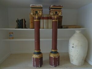 Antique 19 Century French Architectural Columns With Hand Carved Gold Capitals