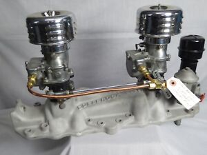 Vintage Edelbrock Super Dual 2x2 W Stromberg 97 Carbs For 32 48 Flathead Ford