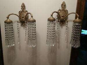 Gorgeous Pair Antique Waterfall Spanish Victorian Wall Sconces 1880 S