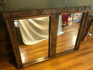 Awesome Large Mid Century Modern Lane Brutalist Divided Mirror Hand Carved