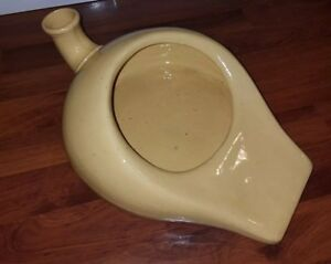Porcelain Ceramic Bed Pan Antique Vintage Chamber Pot Urinal Gold Yellow