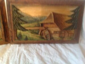 2 Antique German Black Forest Hand Carved Wood Painted Wall Plaques