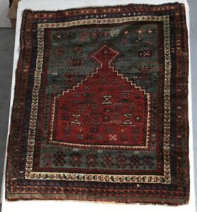 Antique Turkish Prayer Rug Geometric Patterns Wool Pile In Reds Browns Blue