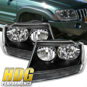 Headlight For 1999 2004 Jeep Grand Cherokee Replacement Black Lamps 99 04