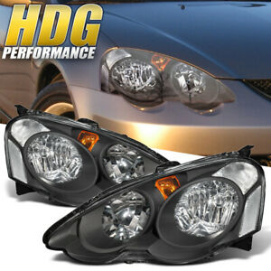 For 02 04 Acura Rsx Dc5 Jdm Black Housing Amber Signal Driving Front Headlight