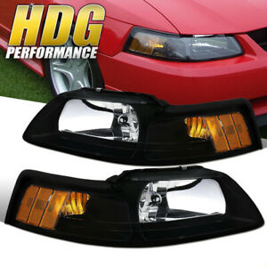 1999 2004 Ford Mustang Black Housing Headlights With Amber Reflectors Pair