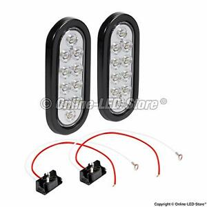 2pc 6 Oval White Led Trailer Tail Lights