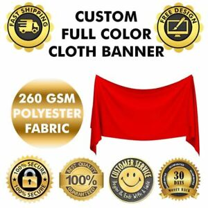 Custom Polyester Fabric Cloth Banner 5 X 5 Ft Double Stitched Flag Outdoor Use