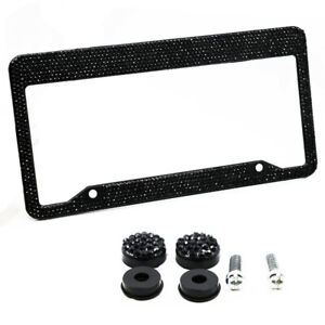 Car License Plate Frame Black Diamond Bling Glitter Crystal Rhinestone Metal