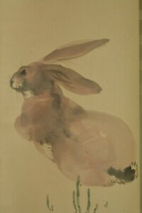Japanese Painting Hanging Scroll Japan Rabbit Hand Painted Antique Vintage D210
