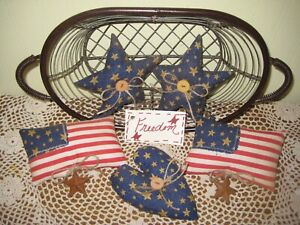 Patriotic Fabric American Flags Stars Heart Bowl Fillers Country Home Decor