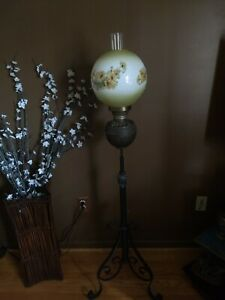 Antique 1891 Patent Date Extension Pole Cast Iron Brass Piano Lamp