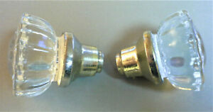 Vintage Set Of 2 Crystal 12 Point Glass Door Knobs Bright Gold Brass