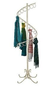 Spiral Scarf Rack Floor Display 27 Rings 72 Tall X 17 Ivory Double Curl Finial